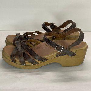 Dansko Sz 37 US 6.5-7 Brown Strappy Clogs Sandals